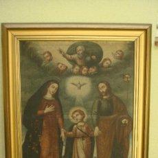 Arte: ANTIGUA PINTURA DE LA SAGRADA FAMILIA. O/L. FIRMADO GERONIMO BONETE. S/XVII - XVIII. Lote 117198303