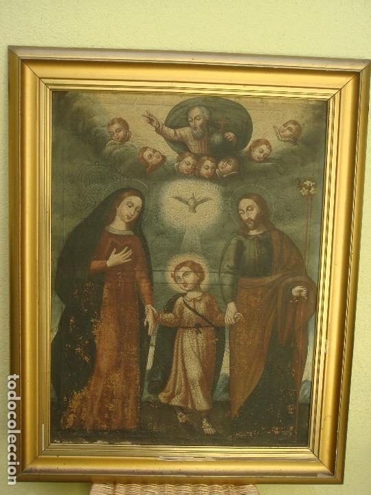 Arte: ANTIGUA PINTURA DE LA SAGRADA FAMILIA. O/L. FIRMADO GERONIMO BONETE. S/XVII - XVIII - Foto 2 - 117198303