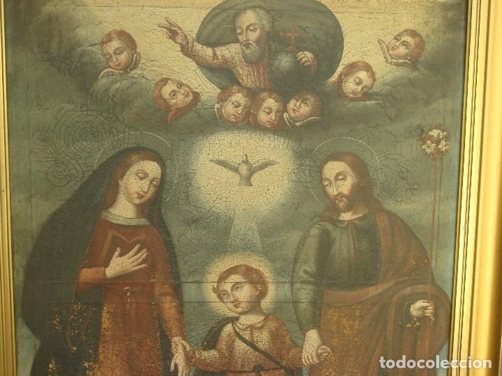 Arte: ANTIGUA PINTURA DE LA SAGRADA FAMILIA. O/L. FIRMADO GERONIMO BONETE. S/XVII - XVIII - Foto 3 - 117198303