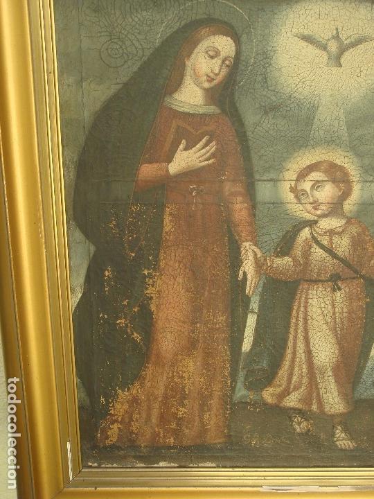 Arte: ANTIGUA PINTURA DE LA SAGRADA FAMILIA. O/L. FIRMADO GERONIMO BONETE. S/XVII - XVIII - Foto 4 - 117198303