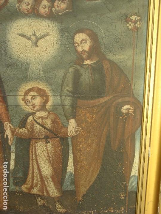 Arte: ANTIGUA PINTURA DE LA SAGRADA FAMILIA. O/L. FIRMADO GERONIMO BONETE. S/XVII - XVIII - Foto 5 - 117198303