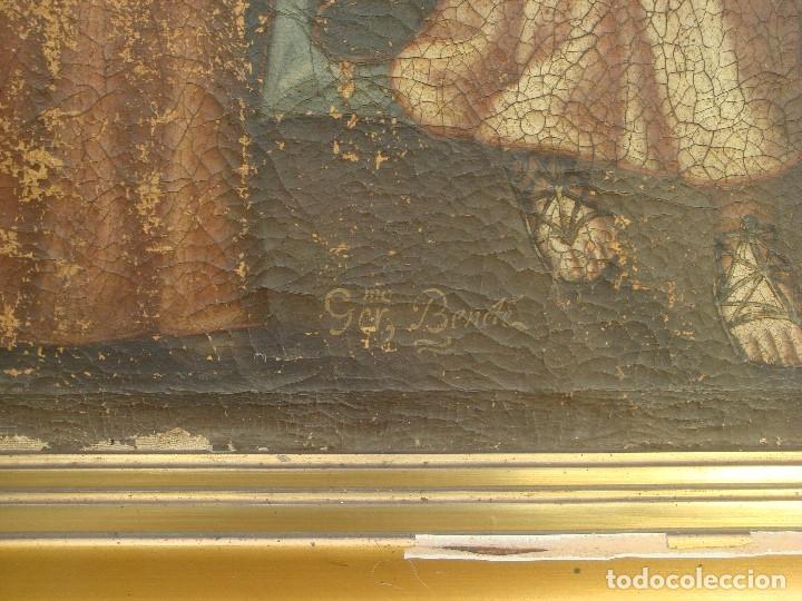 Arte: ANTIGUA PINTURA DE LA SAGRADA FAMILIA. O/L. FIRMADO GERONIMO BONETE. S/XVII - XVIII - Foto 6 - 117198303