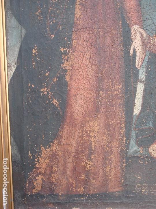 Arte: ANTIGUA PINTURA DE LA SAGRADA FAMILIA. O/L. FIRMADO GERONIMO BONETE. S/XVII - XVIII - Foto 8 - 117198303