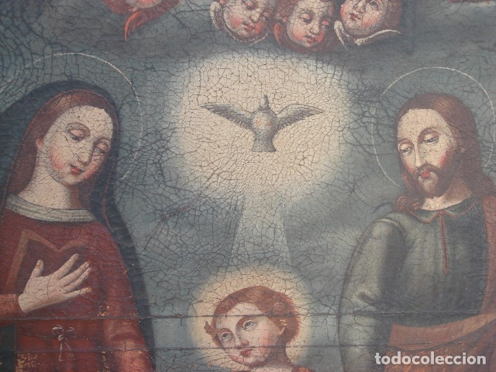 Arte: ANTIGUA PINTURA DE LA SAGRADA FAMILIA. O/L. FIRMADO GERONIMO BONETE. S/XVII - XVIII - Foto 9 - 117198303