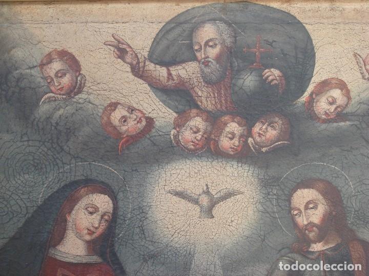 Arte: ANTIGUA PINTURA DE LA SAGRADA FAMILIA. O/L. FIRMADO GERONIMO BONETE. S/XVII - XVIII - Foto 10 - 117198303