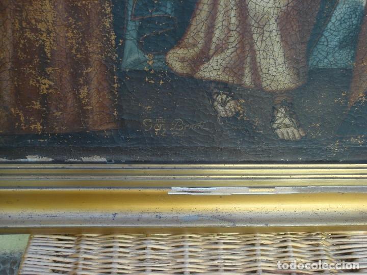Arte: ANTIGUA PINTURA DE LA SAGRADA FAMILIA. O/L. FIRMADO GERONIMO BONETE. S/XVII - XVIII - Foto 11 - 117198303