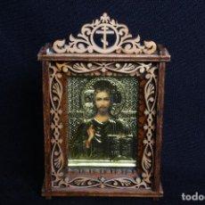Arte: ICONO DE CRISTO PANTOCRATOR EN MARCO DE MADERA CALADA. Lote 117327303