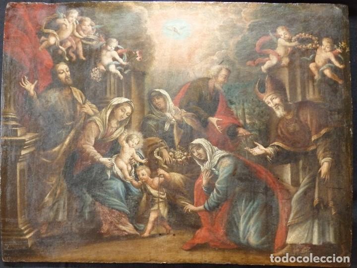 LA SAGRADA FAMILIA Y SAN JUANITO. OLEO SOBRE TABLA. ITALIA, SIGLO XVII. (Arte - Arte Religioso - Pintura Religiosa - Oleo)