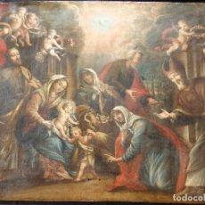 Arte: LA SAGRADA FAMILIA Y SAN JUANITO. OLEO SOBRE TABLA. ITALIA, SIGLO XVII.. Lote 115960783