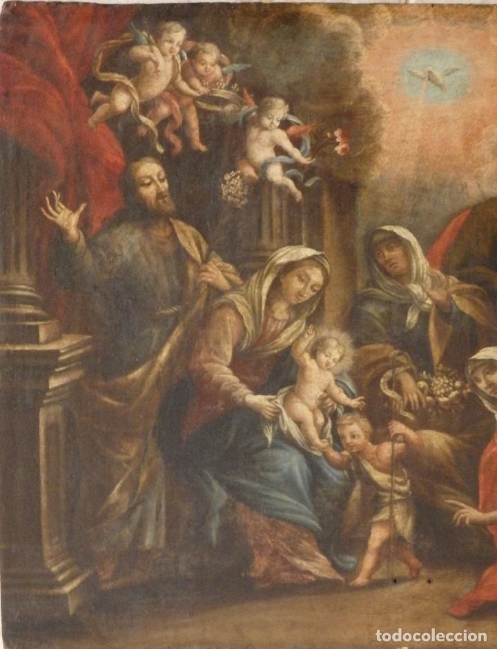 Arte: La Sagrada Familia y San Juanito. Oleo sobre tabla. Italia, siglo XVII. - Foto 2 - 115960783