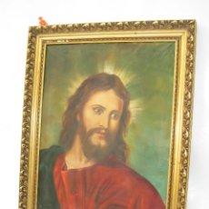 Arte: ESPECTACULAR GRAN PINTURA AL OLEO JESUS SAGRADO CORAZON MARCO MADERA DORADO. Lote 117479743