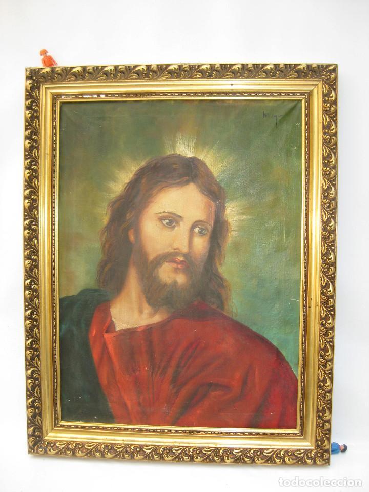 Arte: ESPECTACULAR GRAN PINTURA AL OLEO JESUS SAGRADO CORAZON MARCO MADERA DORADO - Foto 2 - 117479743