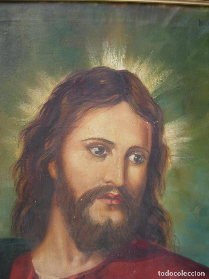 Arte: ESPECTACULAR GRAN PINTURA AL OLEO JESUS SAGRADO CORAZON MARCO MADERA DORADO - Foto 3 - 117479743
