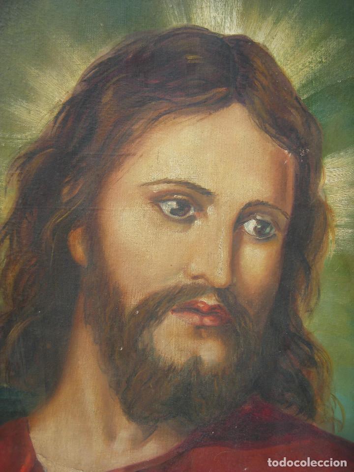Arte: ESPECTACULAR GRAN PINTURA AL OLEO JESUS SAGRADO CORAZON MARCO MADERA DORADO - Foto 4 - 117479743