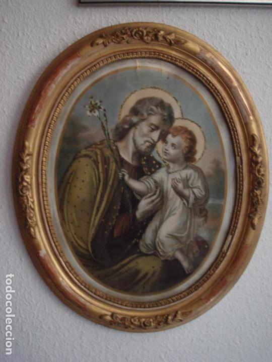 ANTIGUA Y MAGNIFICA REPRODUCCION DE SAN JOSE CON NIÑO JESUS.ENMARCADO ORIGINAL DE EPOCA. FINAL S.XIX (Arte - Arte Religioso - Pintura Religiosa - Otros)