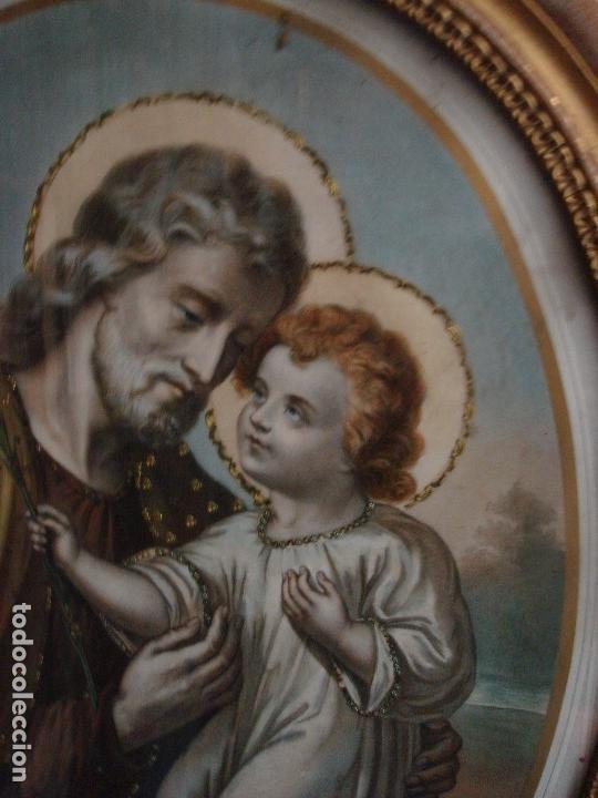 Arte: ANTIGUA Y MAGNIFICA REPRODUCCION DE SAN JOSE CON NIÑO JESUS.ENMARCADO ORIGINAL DE EPOCA. FINAL S.XIX - Foto 2 - 117515555