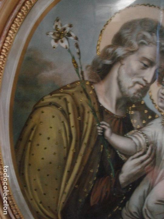 Arte: ANTIGUA Y MAGNIFICA REPRODUCCION DE SAN JOSE CON NIÑO JESUS.ENMARCADO ORIGINAL DE EPOCA. FINAL S.XIX - Foto 3 - 117515555