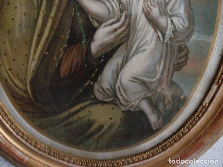 Arte: ANTIGUA Y MAGNIFICA REPRODUCCION DE SAN JOSE CON NIÑO JESUS.ENMARCADO ORIGINAL DE EPOCA. FINAL S.XIX - Foto 4 - 117515555
