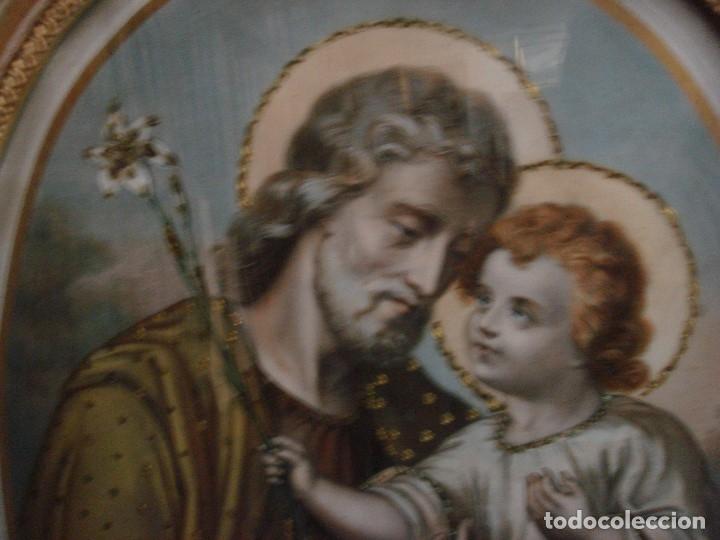 Arte: ANTIGUA Y MAGNIFICA REPRODUCCION DE SAN JOSE CON NIÑO JESUS.ENMARCADO ORIGINAL DE EPOCA. FINAL S.XIX - Foto 5 - 117515555