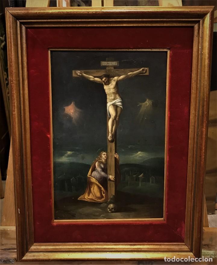 CRUCIFICADO CON MAGDALENA, OLEO SOBRE COBRE S. XVII, ESC. HISPANO FLAMENCA (Arte - Arte Religioso - Pintura Religiosa - Oleo)