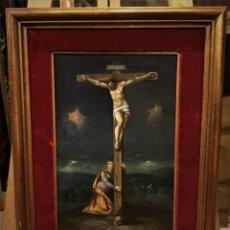 Arte: CRUCIFICADO CON MAGDALENA, OLEO SOBRE COBRE S. XVII, ESC. HISPANO FLAMENCA. Lote 117555303