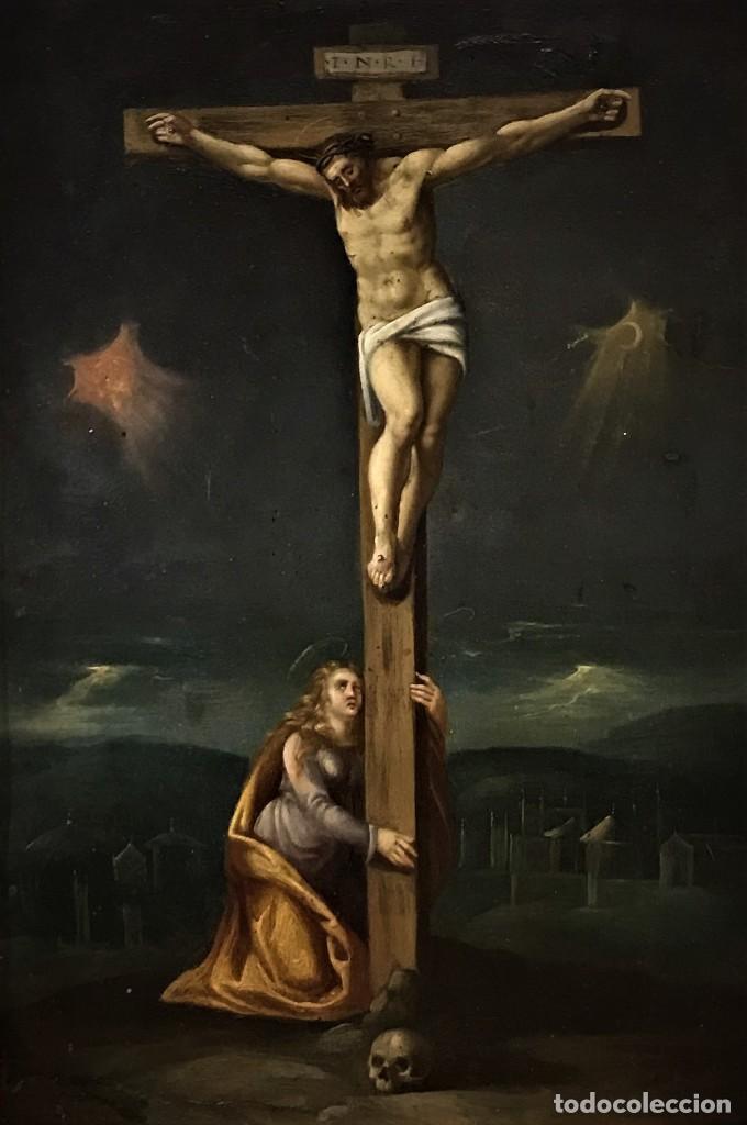 Arte: CRUCIFICADO CON MAGDALENA, OLEO SOBRE COBRE S. XVII, ESC. HISPANO FLAMENCA - Foto 2 - 117555303