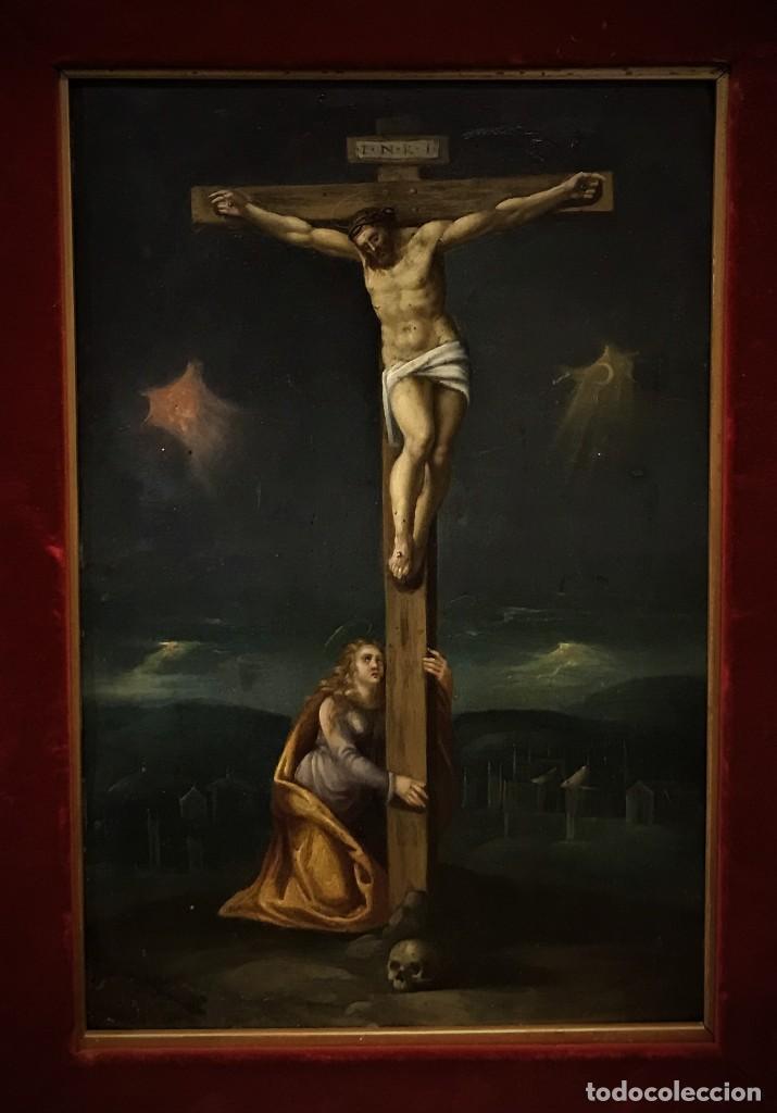 Arte: CRUCIFICADO CON MAGDALENA, OLEO SOBRE COBRE S. XVII, ESC. HISPANO FLAMENCA - Foto 3 - 117555303
