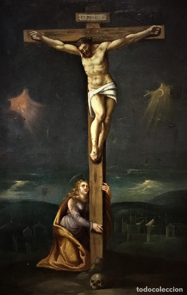 Arte: CRUCIFICADO CON MAGDALENA, OLEO SOBRE COBRE S. XVII, ESC. HISPANO FLAMENCA - Foto 4 - 117555303
