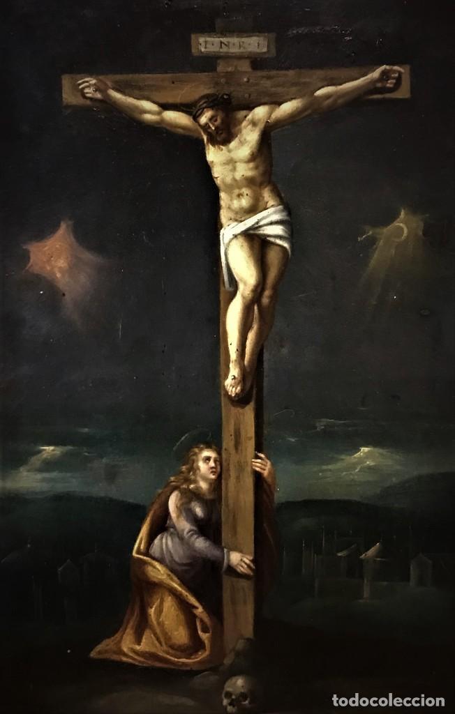 Arte: CRUCIFICADO CON MAGDALENA, OLEO SOBRE COBRE S. XVII, ESC. HISPANO FLAMENCA - Foto 5 - 117555303