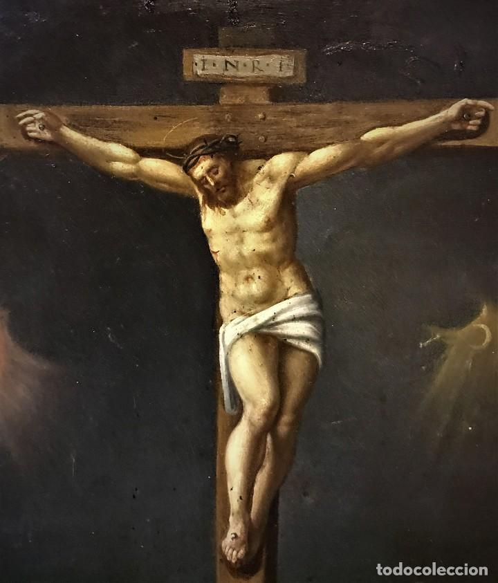 Arte: CRUCIFICADO CON MAGDALENA, OLEO SOBRE COBRE S. XVII, ESC. HISPANO FLAMENCA - Foto 6 - 117555303