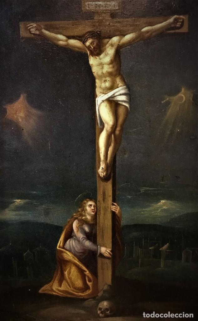 Arte: CRUCIFICADO CON MAGDALENA, OLEO SOBRE COBRE S. XVII, ESC. HISPANO FLAMENCA - Foto 7 - 117555303