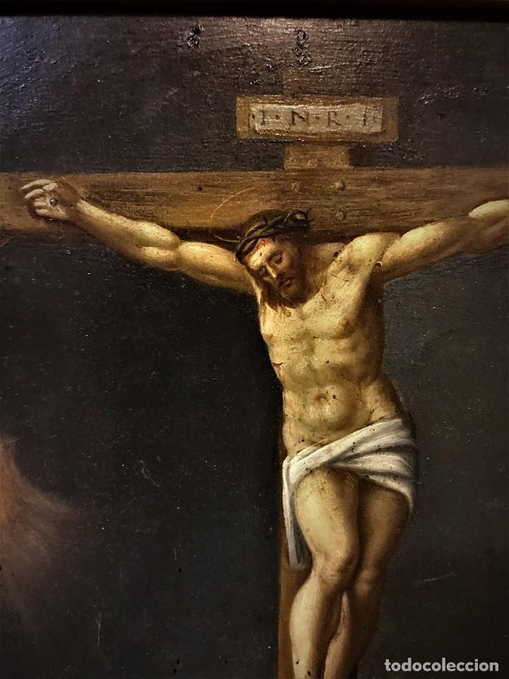 Arte: CRUCIFICADO CON MAGDALENA, OLEO SOBRE COBRE S. XVII, ESC. HISPANO FLAMENCA - Foto 8 - 117555303