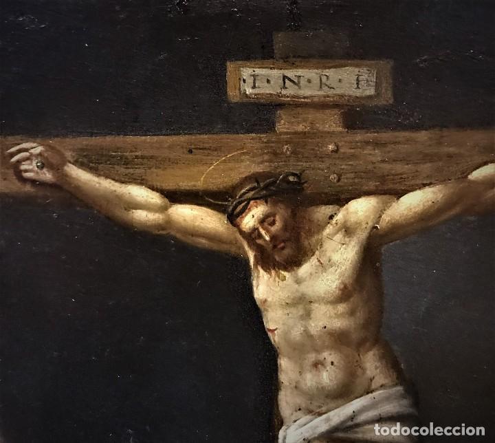Arte: CRUCIFICADO CON MAGDALENA, OLEO SOBRE COBRE S. XVII, ESC. HISPANO FLAMENCA - Foto 10 - 117555303