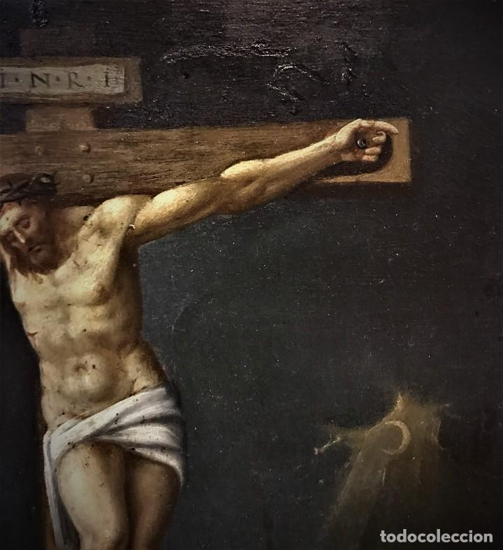 Arte: CRUCIFICADO CON MAGDALENA, OLEO SOBRE COBRE S. XVII, ESC. HISPANO FLAMENCA - Foto 11 - 117555303