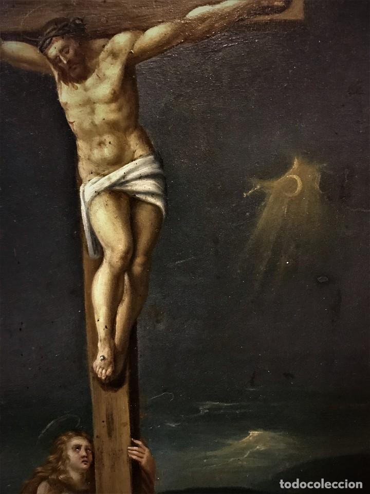 Arte: CRUCIFICADO CON MAGDALENA, OLEO SOBRE COBRE S. XVII, ESC. HISPANO FLAMENCA - Foto 12 - 117555303