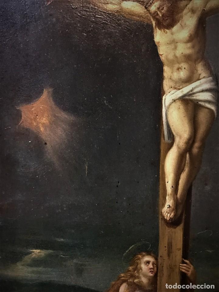 Arte: CRUCIFICADO CON MAGDALENA, OLEO SOBRE COBRE S. XVII, ESC. HISPANO FLAMENCA - Foto 13 - 117555303