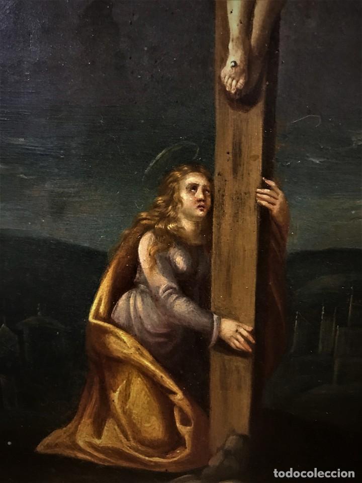 Arte: CRUCIFICADO CON MAGDALENA, OLEO SOBRE COBRE S. XVII, ESC. HISPANO FLAMENCA - Foto 14 - 117555303