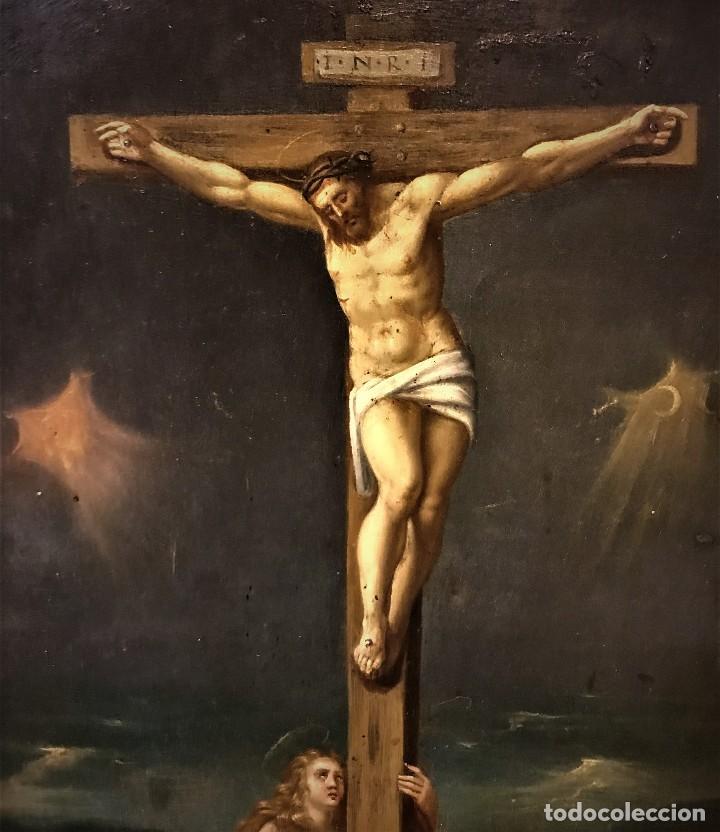 Arte: CRUCIFICADO CON MAGDALENA, OLEO SOBRE COBRE S. XVII, ESC. HISPANO FLAMENCA - Foto 22 - 117555303
