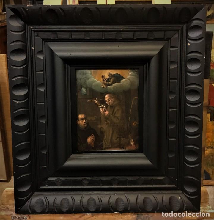 SAN JUN DE DIOS ANTE LA CRUZ CON DONANTE, OLEO SOBRE COBRE S. XVII (Arte - Arte Religioso - Pintura Religiosa - Oleo)