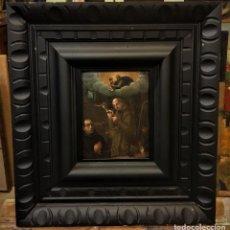 Arte: SAN JUN DE DIOS ANTE LA CRUZ CON DONANTE, OLEO SOBRE COBRE S. XVII. Lote 117555575