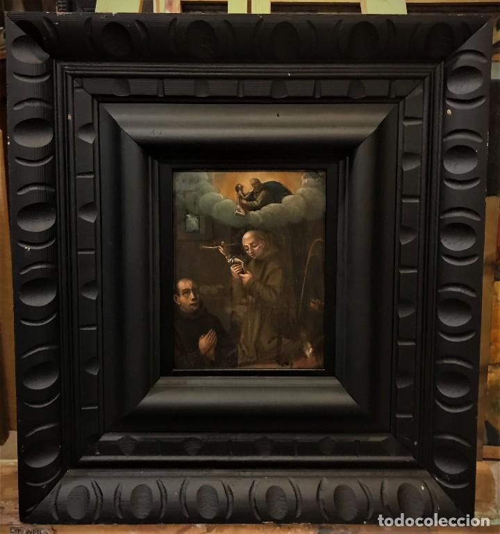 Arte: SAN JUN DE DIOS ANTE LA CRUZ CON DONANTE, OLEO SOBRE COBRE S. XVII - Foto 2 - 117555575