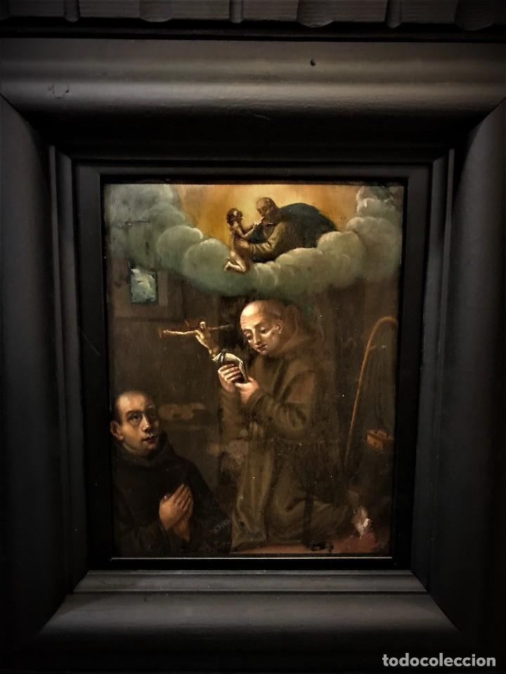 Arte: SAN JUN DE DIOS ANTE LA CRUZ CON DONANTE, OLEO SOBRE COBRE S. XVII - Foto 3 - 117555575