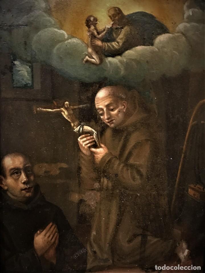 Arte: SAN JUN DE DIOS ANTE LA CRUZ CON DONANTE, OLEO SOBRE COBRE S. XVII - Foto 4 - 117555575