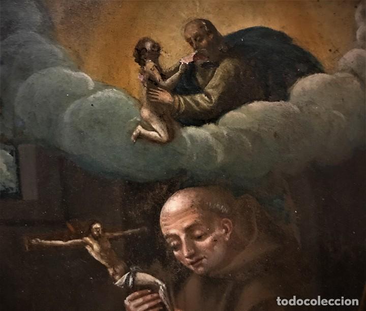 Arte: SAN JUN DE DIOS ANTE LA CRUZ CON DONANTE, OLEO SOBRE COBRE S. XVII - Foto 5 - 117555575