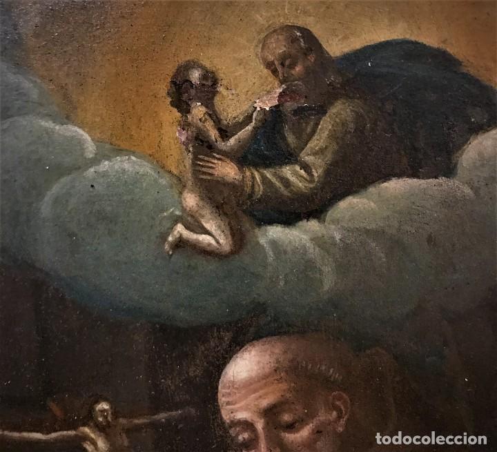 Arte: SAN JUN DE DIOS ANTE LA CRUZ CON DONANTE, OLEO SOBRE COBRE S. XVII - Foto 6 - 117555575