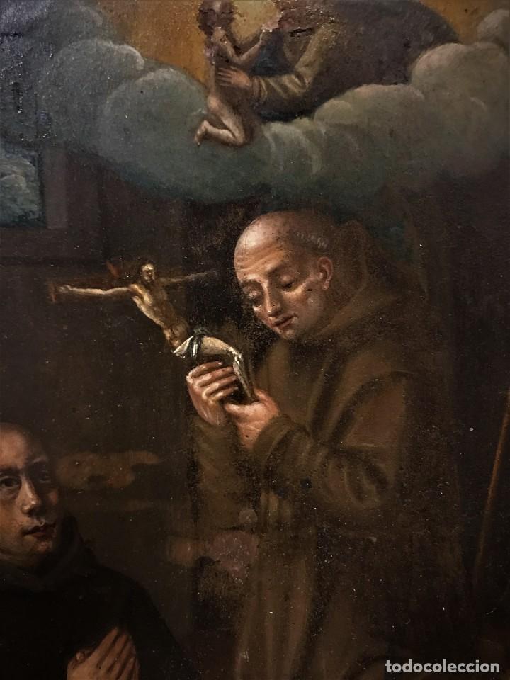 Arte: SAN JUN DE DIOS ANTE LA CRUZ CON DONANTE, OLEO SOBRE COBRE S. XVII - Foto 7 - 117555575