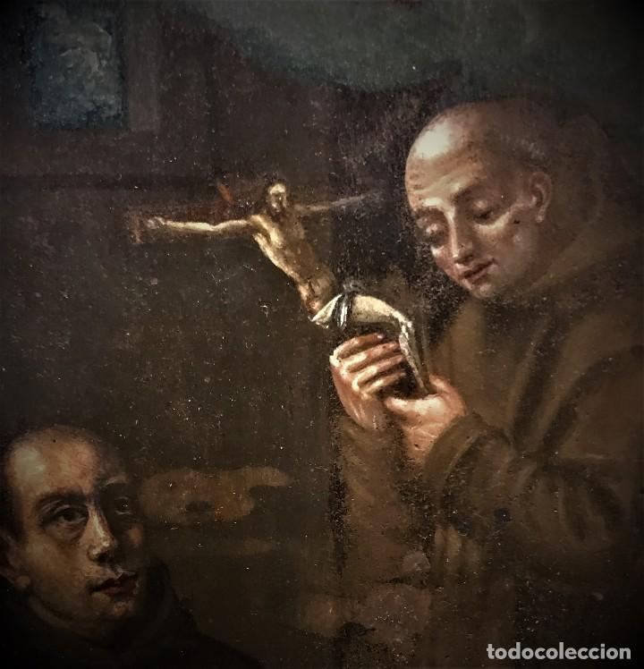 Arte: SAN JUN DE DIOS ANTE LA CRUZ CON DONANTE, OLEO SOBRE COBRE S. XVII - Foto 8 - 117555575