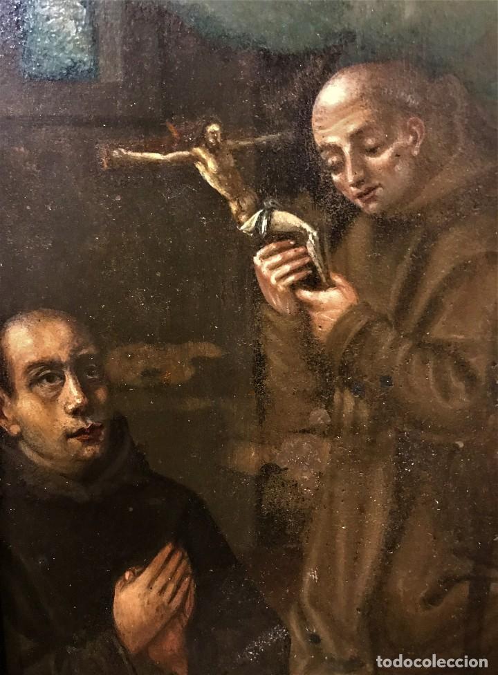 Arte: SAN JUN DE DIOS ANTE LA CRUZ CON DONANTE, OLEO SOBRE COBRE S. XVII - Foto 9 - 117555575