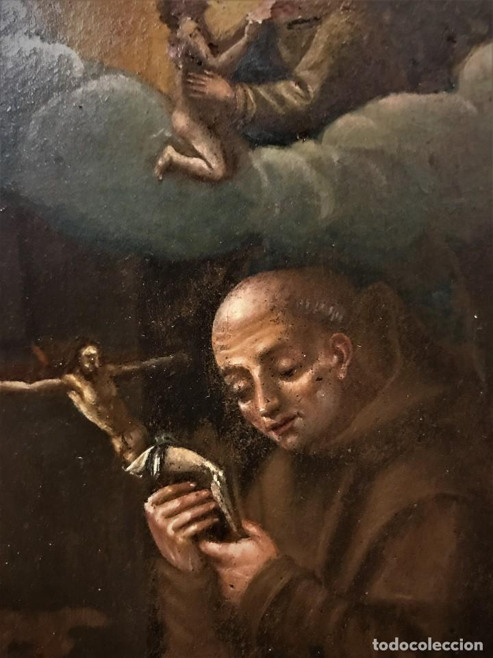 Arte: SAN JUN DE DIOS ANTE LA CRUZ CON DONANTE, OLEO SOBRE COBRE S. XVII - Foto 10 - 117555575