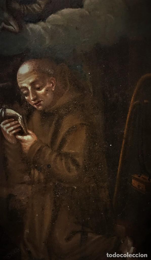 Arte: SAN JUN DE DIOS ANTE LA CRUZ CON DONANTE, OLEO SOBRE COBRE S. XVII - Foto 11 - 117555575